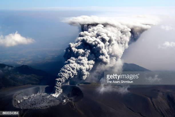 In this aerial image volcanic ash spews from the crater of Mt Shinmoedake on October 11 2017 in Kirishima Kagoshima Japan The eruption sends a plume...