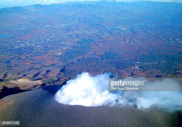In this aerial image, volcanic ashes spew from the summit of the Mount Asamayama on November 10, 2005 in Tsumagoi, Gunma, Japan.
