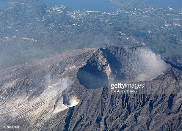 In this aerial image volcanic smoke of Sakurajima is seen on March 10 2009 in Kagoshima Japan