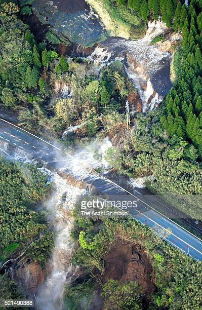 In this aerial image, water flows at a landslide site on April 16, 2016 in Minamiaso, Kumamoto, Japan. The magnitude 7.3 earthquake hit Kyushu, just...