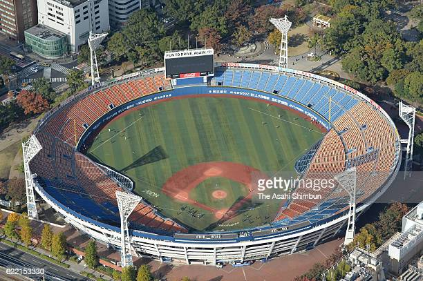 In this aerial image Yokohama Stadium a vanue for the baseball and softball tournaments during the Tokyo 2020 Olympic Games is seen on November 9...