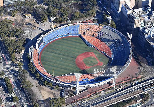 In this aerial image Yokohama Stadium is seen on January 11 2017 in Yokohama Kanagawa Japan