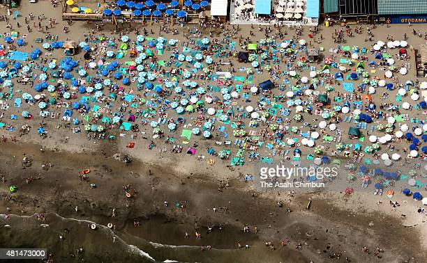 In this aerial image Yuigahama beach is packed with beach goers on July 19 2015 in Kamakura Kanagawa Japan The Japan Meteorological Agency announced...