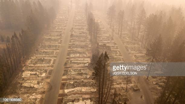 In this aerial photo a burned neighborhood is seen in Paradise California on November 15 2018 The toll in the deadliest wildfires in recent...