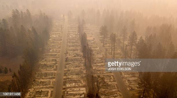 TOPSHOT In this aerial photo a burned neighborhood is seen in Paradise California on November 15 2018 The toll in the deadliest wildfires in recent...
