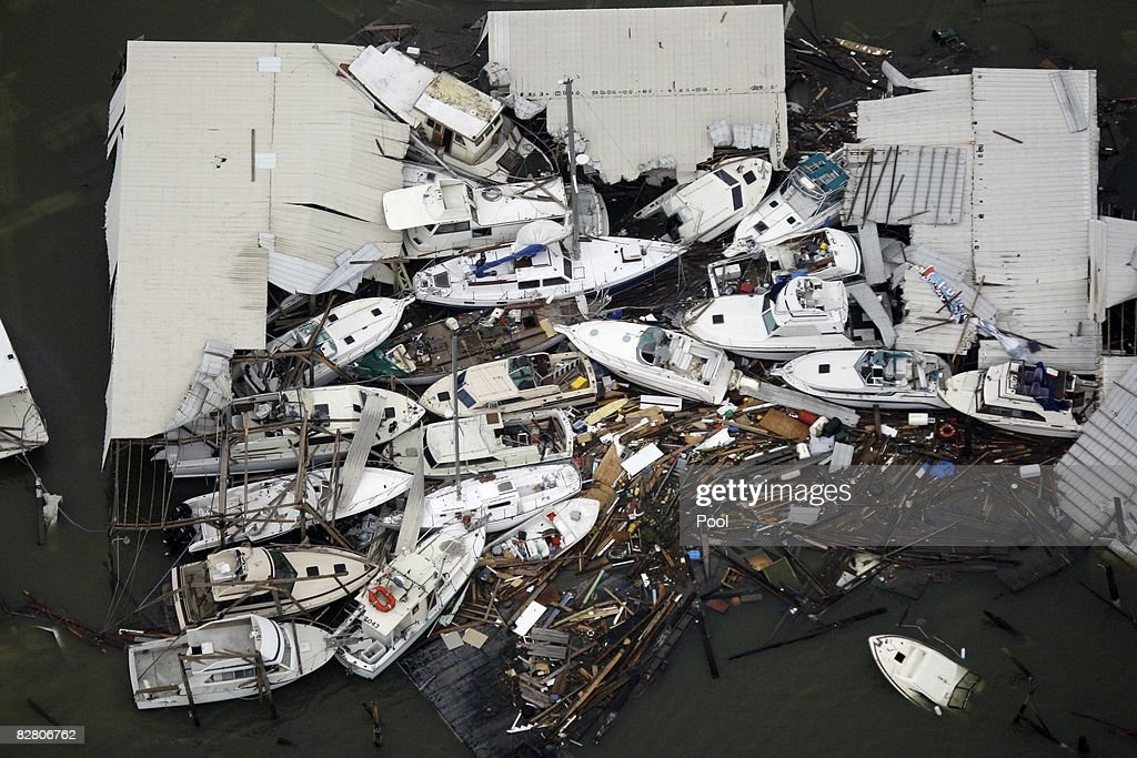 In this aerial photo, boats and debris are piled up after Hurricane Ike made landfall overnight September 13, 2008 in Galveston, Texas. Ike caused extensive damage along the Texas Gold Coast, leaving millions without power.