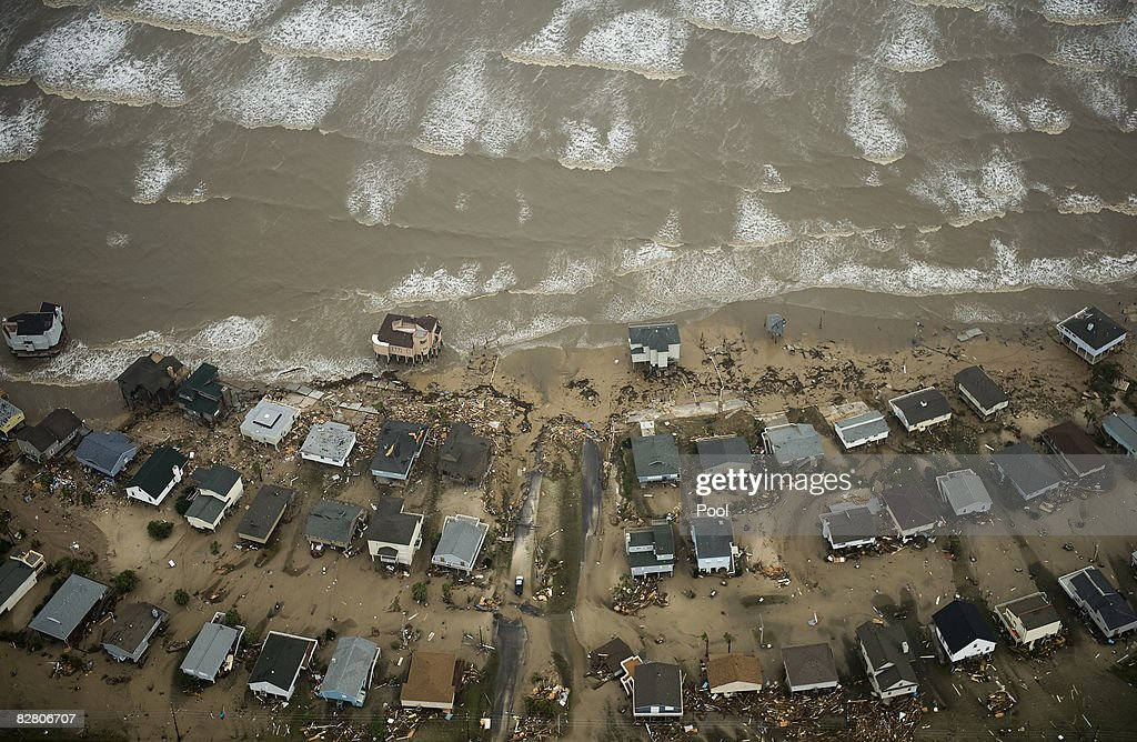 In this aerial photo, damaged beach front homes are seen on Galveston Island after the passing of Hurricane Ike September 13, 2008 in Galveston, Texas. Ike caused extensive damage along the Texas Gold Coast, leaving millions without power.