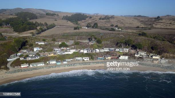 In this aerial photo Martin's Beach is seen in Half Moon Bay California on September 19 2018 Billionaire Vinod Khosla purchased the land and has been...