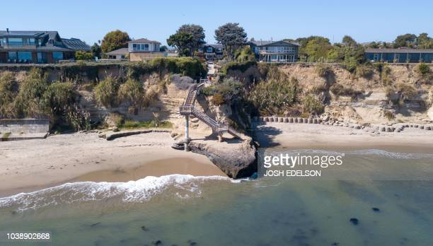 In this aerial photo Privates Beach is seen in the Opal Cliffs area of Santa Cruz California on September 19 2018 Local officials charge a $100...