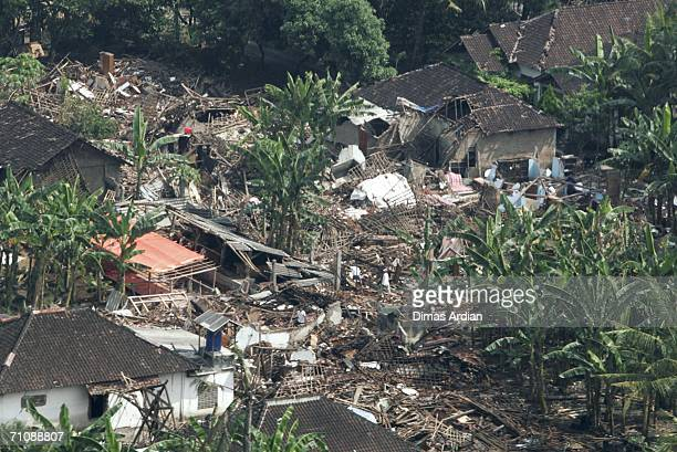 In this aerial photo, structures are damaged and destroyed in the devastated Klaten district May 31, 2006 in Yogyakarta, Central Java, Indonesia....