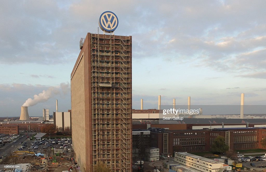 In this aerial photo the Volkswagen logo adorns the top of an administrative building that is currently under renovation at the Volkswagen factory on November 12, 2015 in Wolfsburg, Germany. Volkswagen recently announced a deadline for the end of November for its whistelblower program to allow employees with knowledge pertaining to the companies' two emissions cheating scandals to come forward.