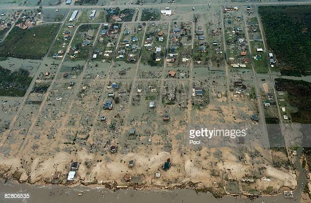 In this aerial photo waterfront damage from Hurricane Ike can be seen September 13 2008 in Crystal Beach Texas Ike caused extensive damage along the...