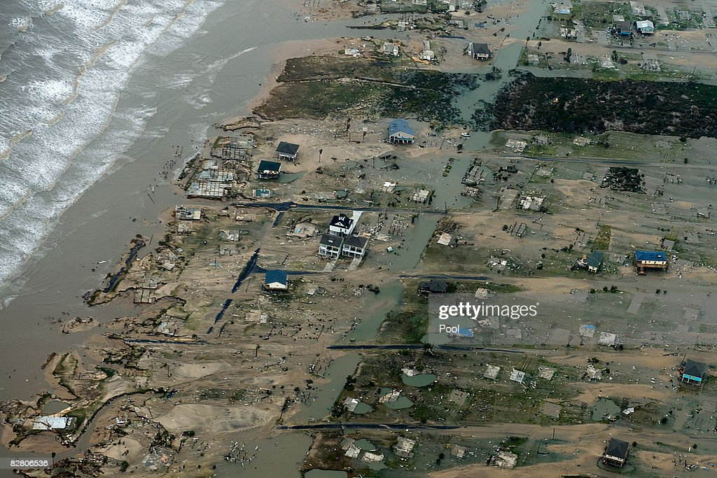 In this aerial photo, waterfront damage from Hurricane Ike can be seen September 13, 2008 in Crystal Beach, Texas. Ike caused extensive damage along the Texas Gold Coast, leaving millions without power.