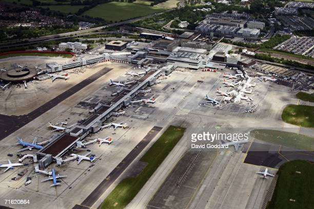 In this aerial phtoograph aeroplanes are seen at Gatwick Airport on August Gatwick, England. British Airports have been thrown into chaos as Airport...