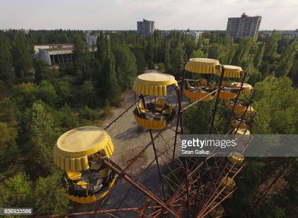 In this aerial view a ferris wheel stands in the ghost town of Pripyat not far from the Chernobyl nuclear power plant on August 19 2017 in Pripyat...