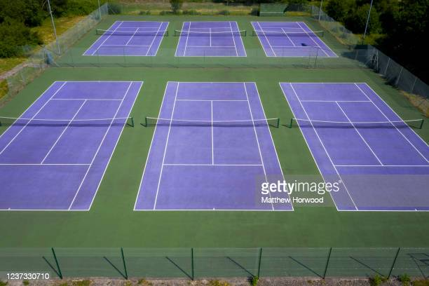 In this aerial view - A general view of tennis courts at Caerphilly Tennis Club on May 31, 2020 in Caerphilly, Wales. Wales is the only country in...