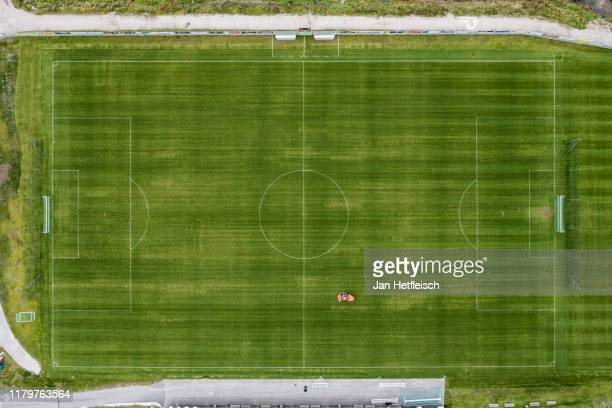 In this aerial view a training ground of of Hotel Nidum is been mowed on October 08, 2019 in Seefeld, Austria. The German national soccer team will...