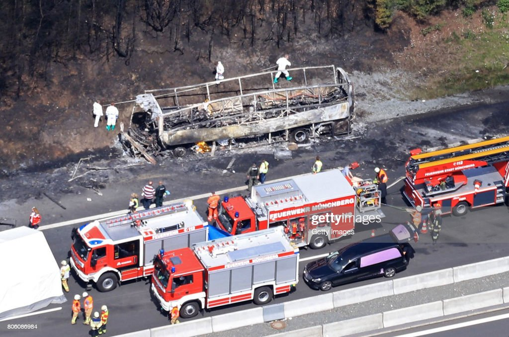 Bus Crash Kills 18 In Northern Bavaria : News Photo