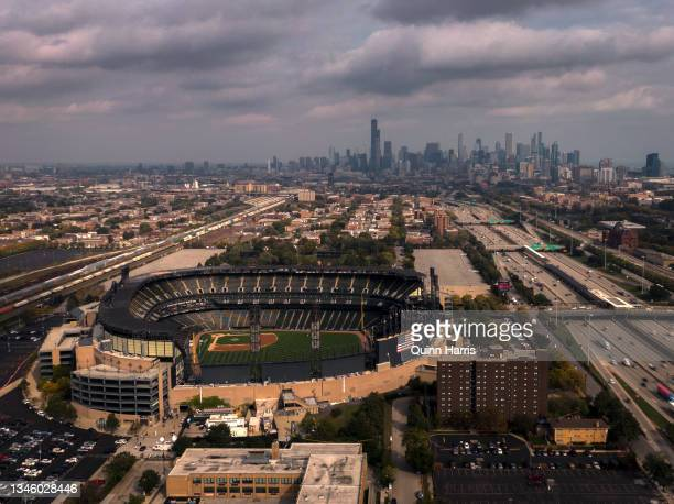 In this aerial view from a drone, Guaranteed Rate Field is seen as game 4 of the American League Division game between the Chicago White Sox and the...