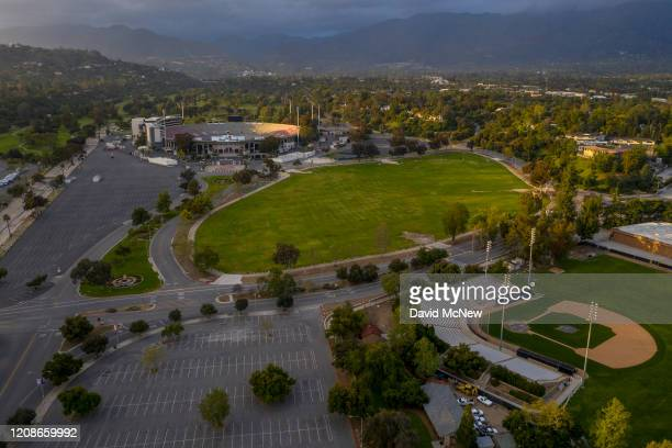 In this aerial view from a drone the Rose Bowl Loop and surrounding grounds popularly used by soccer teams runners walkers and cyclists stands...