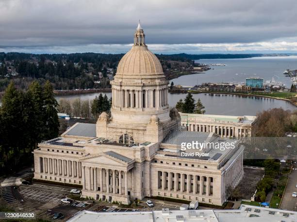 In this aerial view from a drone, the Washington State Capitol is seen on January 17, 2021 in Olympia, Washington. Supporters of President Donald...
