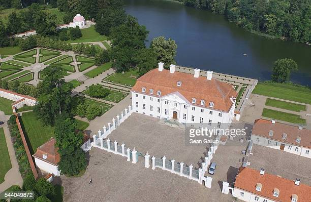 In this aerial view Schloss Meseberg palace stands on July 1 2016 in Meseberg near Gransee Germany Schloss Meseberg is the German government guest...