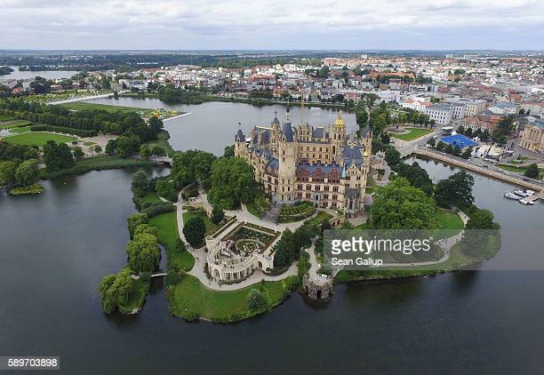 In this aerial view Schloss Schwerin castle seat of the state parliament of the state of MecklenburgWestern Pomerania and also a UNESCO Wolrd...