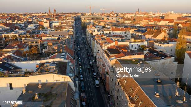 In this aerial view the Alte Schoenhauser Strasse corner Muenzstrasse , a popular shopping street in the district Mitte, stands under a four-week...