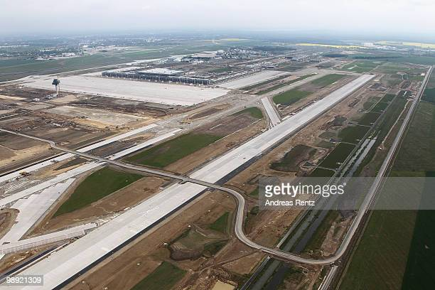 In this aerial view the construction site of the new Airport Berlin Brandenburg International BBI is pictured on May 8 2010 in Schoenefeld Germany...