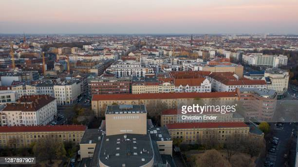 In this aerial view the district Prenzlauer Berg stands under a four-week semi-lockdown during the second wave of the coronavirus pandemic on...