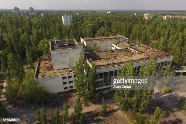 In this aerial view the former Energetika cultural center stands in the abandoned city of Pripyat near the Chernobyl nuclear power plant on August 19...