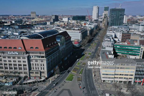 In this aerial view the KaDeWe department store stands nearly empty Wittenberg Platz and Kurfuerstendamm avenue in the city center during the...
