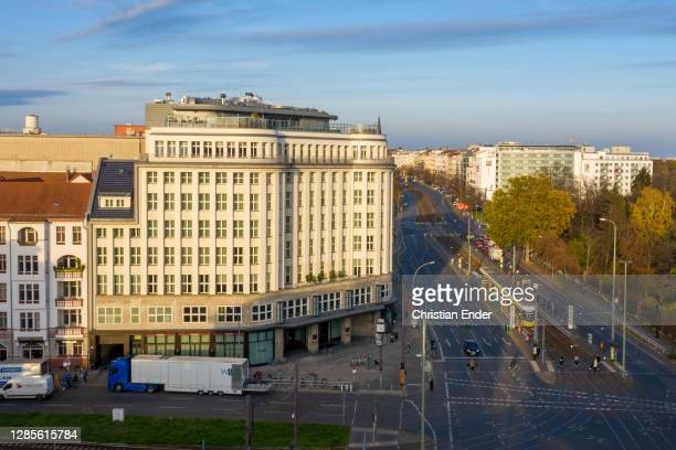 In this aerial view the Soho House Berlin stands during a four-week semi-lockdown during the second wave of the coronavirus pandemic on November 12,...