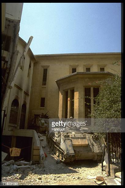In this archive image provided by the Israeli Government Press Office an Israeli army APC deploys outside the museum during Israel's Peace For...