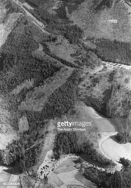 In this arial image the lynch sites of United Red Army 's internal dispute are seen on March 10 1972 in Numata Gunma Japan In Asama Sanso Incident...