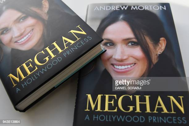 In this arranged photograph the cover of the book entitled 'Meghan A Hollywood Princess' by author Andrew Morton is pictured in London on April 6...