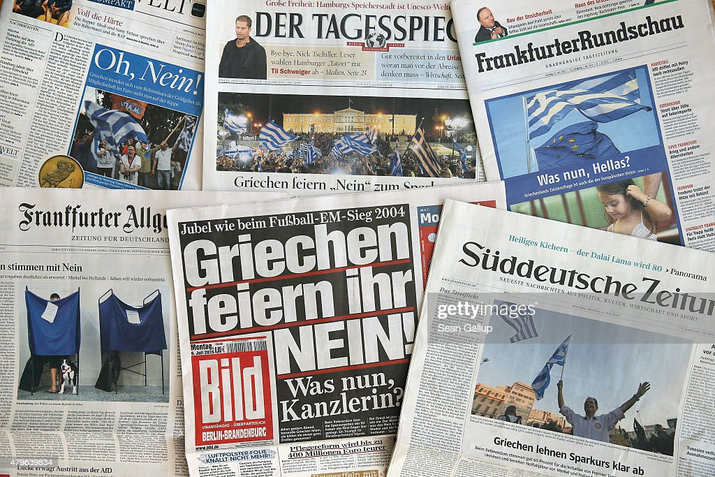In this arrangement of German daily newspapers the 'No' vote in yesterday's Greek referendum dominates the front pages on July 6, 2015 in Berlin, Germany. Greeks voted in a strong majority against the reform plan proposed by the troika of the European Central Bank, the International Monetary Fund and the European Commission in a move that many fear will lead to a departure by Greece from the Eurozone.