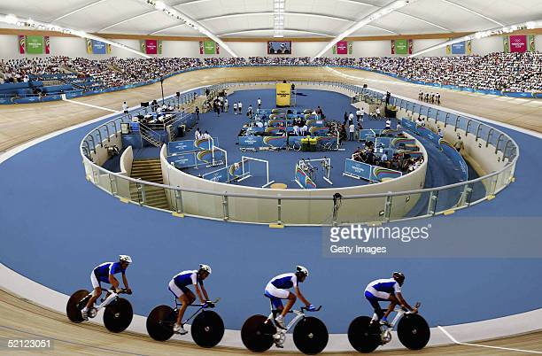 In this artists impression handout image from London 2012 Ltd athletes are seen competing in a team pursuit event at the velodrome within the main...