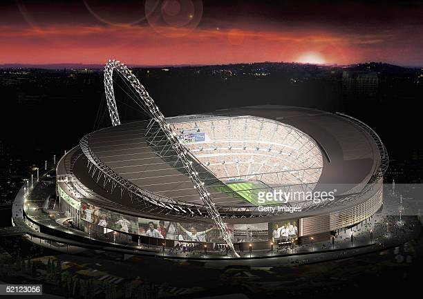 In this artists impression handout image from London 2012 Ltd the new Wembley Stadium which would host the finals of the Olympic football tournament...
