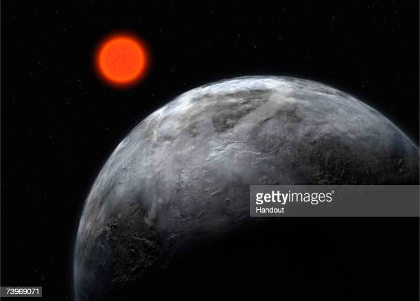 In this artist's impression supplied by the ESO on April 25 the planetary system around the red dwarf Gliese 581 is pictured showing what astronomers...