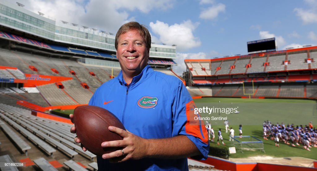 In this Aug. 9, 2015 file photo, Jim McElwain --then the new head football coach at the University of Florida -- poses during a photo shoot with the Orlando Sentinel, at Ben Hill Griffin Stadium in Gainesville, Fla. McElwain and the Gators are parting ways after Florida's 42-7 blowout loss to the Georgia Bulldogs, according to media reports.