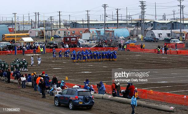 In this August 18 2006 photograph Barrow's football field was created with dirt brought to cover sand and gravel at the Naval Arctic Research...