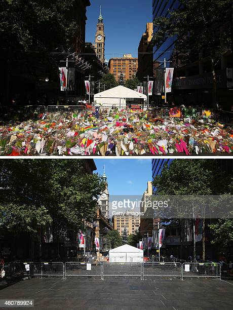 In this beforeandafter composite image Messages and flowers are placed in respect at Martin Place for deceased hostages Tori Johnnson and Katrina...