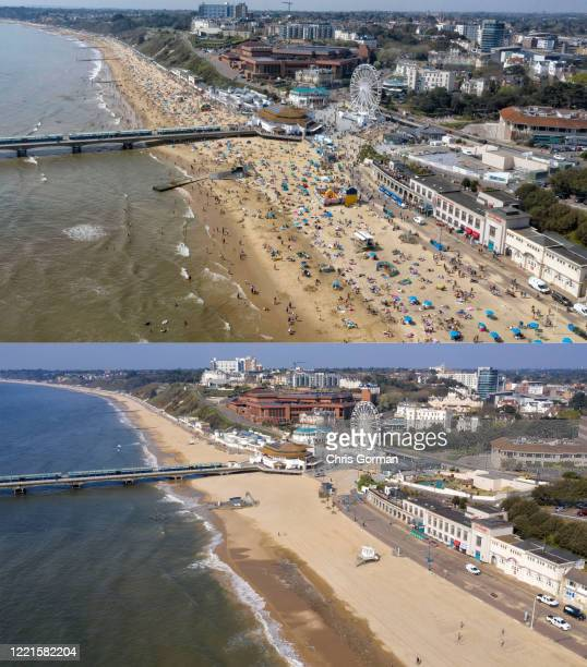 In this before-and-after composite image *TOP IMAGE* Aerial view of Bournemouth Beach in April 19, 2019. *BOTTOM IMAGE* Aerial view of Bournemouth...