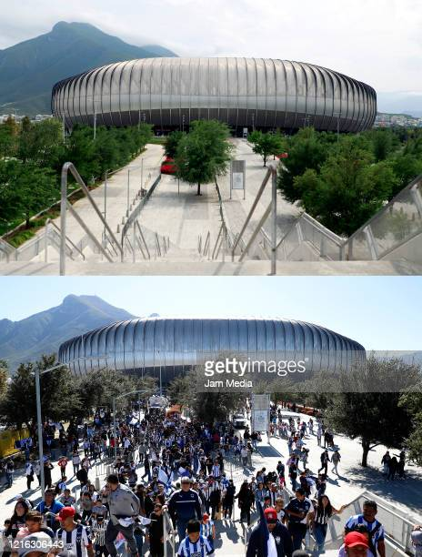 In this beforeandafter composite image *TOP IMAGE* General view of an empty BBVA Stadium during the quarantine period as a preventive measure against...