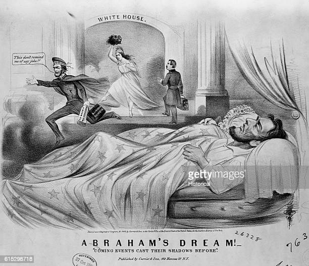 In this cartoon President Lincoln has a nightmare that he is defeated in the 1864 election Liberty is shown holding the head of a black man and...