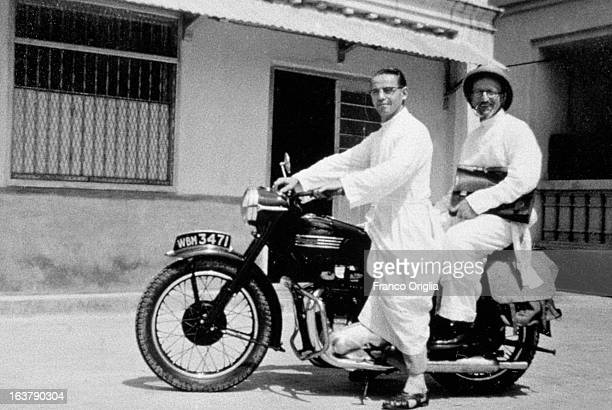In this collect photograph courtesy of the Jesuit General Curia in Rome two Jesuits on a mission pose on a bike in 1950 in India The Argentinian...
