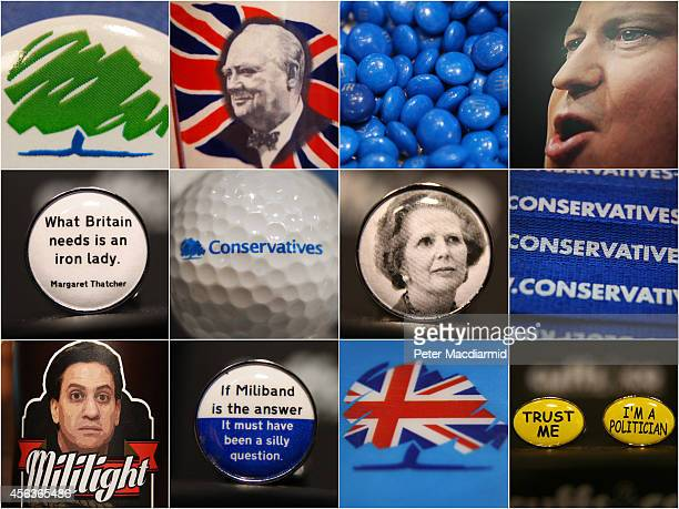 In this combination image a collection of close up photographs show badges cufflinks logos and other collectables from the Conservative party...