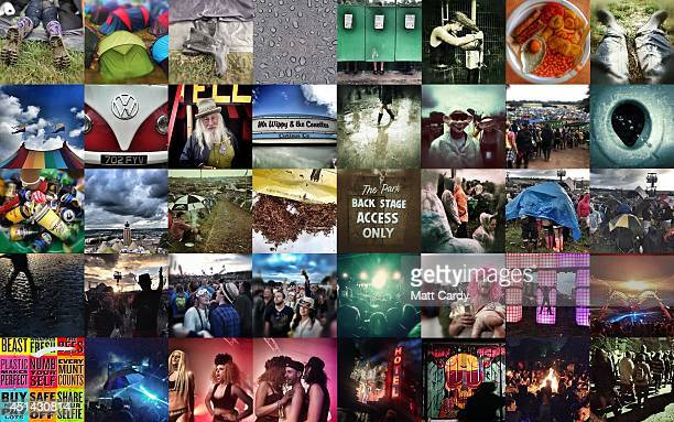 In this combination image a day at the 2014 Glastonbury Festival has been captured using a iPhone on June 27 2014 in Glastonbury England