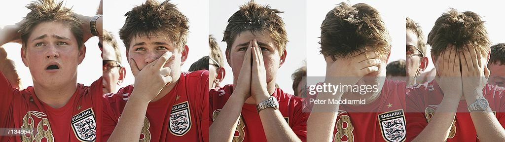 In this combination image, an England football fan reacts to his team's FIFA World Cup quarter final match with Portugal at the Fan Fest on July 1, 2006 in Gelsenkirchen, Germany.